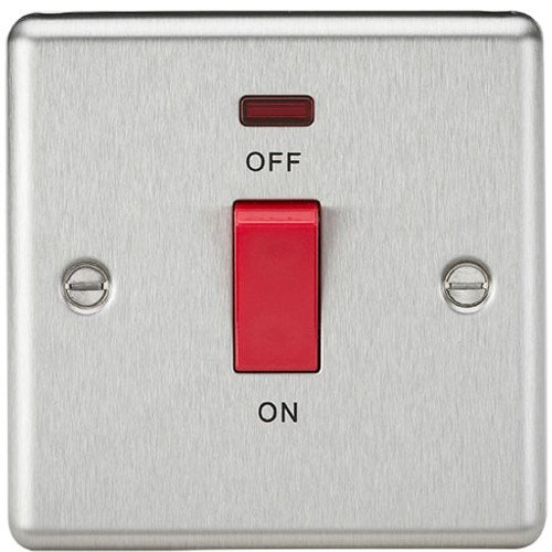 45A DP Switch with Neon (single size) - Rounded Edge Brushed Chrome (DFL1CL81NBC)