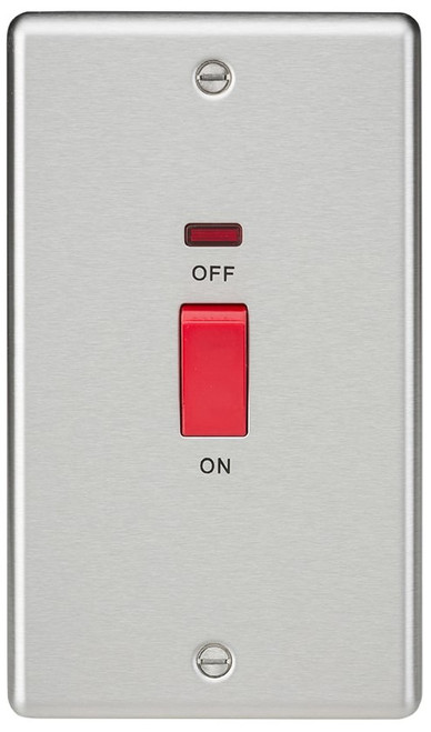 45A DP Switch with Neon (double size) - Rounded Edge Brushed Chrome (DFL1CL82NBC)