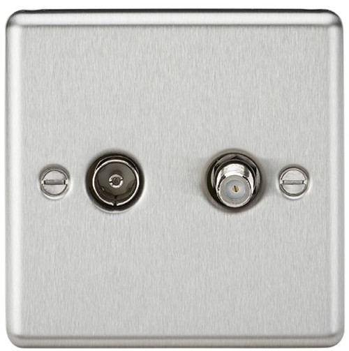 TV & SAT TV Outlet (Isolated) - Rounded Edge Brushed Chrome (DFL1CL014BC)