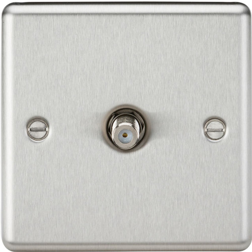 1G SAT TV Outlet (Non-Isolated) - Rounded Edge Brushed Chrome (DFL1CL015BC)