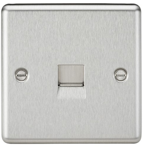 Telephone Extension Socket - Rounded Edge Brushed Chrome (DFL1CL74BC)
