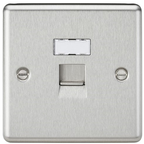 RJ45 Network Outlet - Rounded Edge Brushed Chrome (DFL1CL45BC)