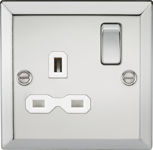 13A 1G DP Switched Socket with White Insert - Bevelled Edge Polished Chrome (DFL1CV7PCW)
