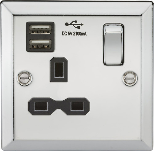 13A 1G switched socket Dual USB charger with Black Insert - Bevelled Edge Polished Chrome (DFL1CV91PC)