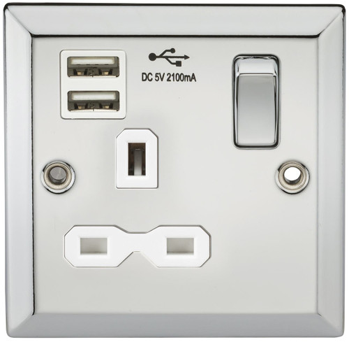 13A 1G switched socket Dual USB charger with White Insert - Bevelled Edge Polished Chrome (DFL1CV91PCW)