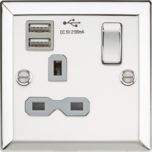 13A 1G switched socket Dual USB charger with Grey Insert - Bevelled Edge Polished Chrome (DFL1CV91PCG)