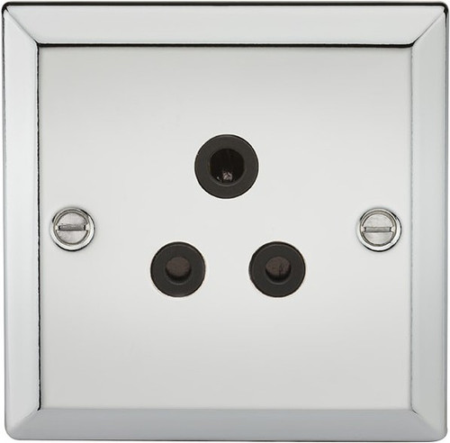 5A Unswitched Socket - Bevelled Edge Polished Chrome with Black Insert (DFL1CV5APC)