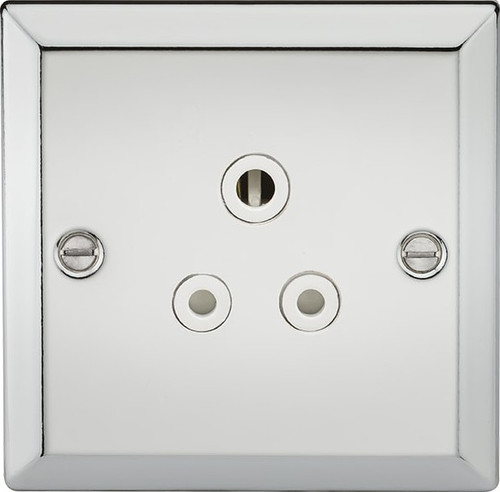 5A Unswitched Socket - Bevelled Edge Polished Chrome with White Insert (DFL1CV5APCW)