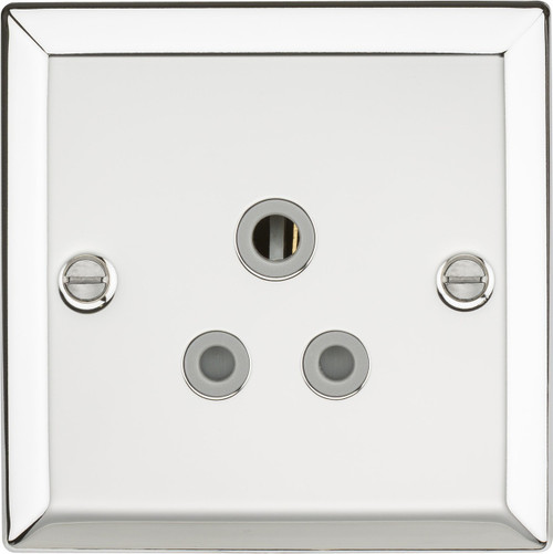 5A Unswitched Socket - Bevelled Edge Polished Chrome with Grey Insert (DFL1CV5APCG)