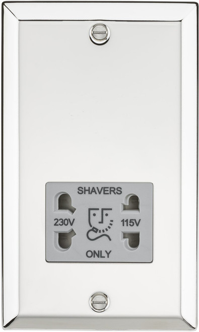 115-230V Dual Voltage Shaver Socket with Grey Insert - Bevelled Edge Polished Chrome (DFL1CV89PCG)