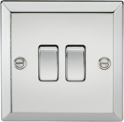 10A 2G 2 Way Plate Switch - Bevelled Edge Polished Chrome (DFL1CV3PC)