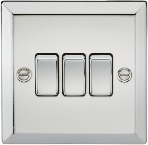 10A 3G 2 Way Plate Switch - Bevelled Edge Polished Chrome (DFL1CV4PC)