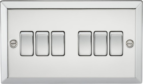 10A 6G 2 Way Plate Switch - Bevelled Edge Polished Chrome (DFL1CV42PC)