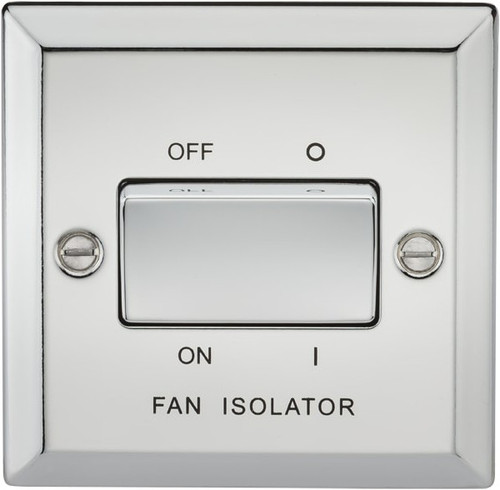 10A 3 Pole Fan Isolator Switch - Bevelled Edge Polished Chrome (DFL1CV11PC)