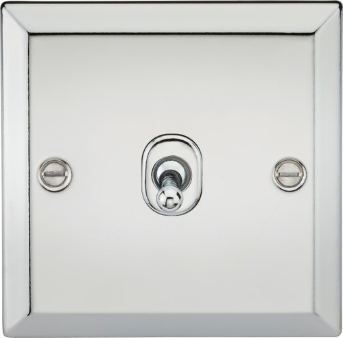 10A 1G 2 Way Toggle Switch - Bevelled Edge Polished Chrome Finish (DFL1CVTOG1PC)