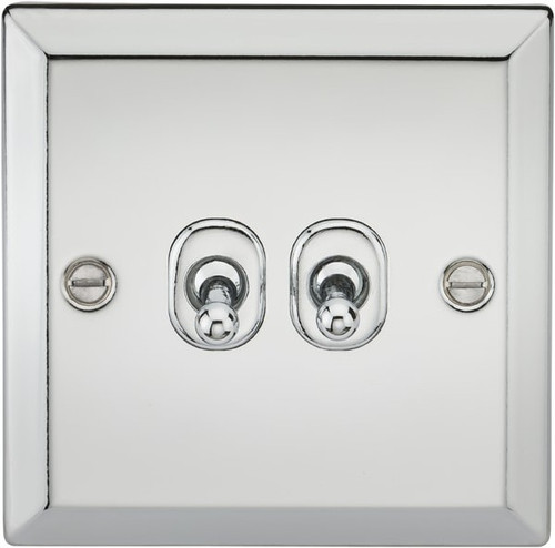 10A 2G 2 Way Toggle Switch - Bevelled Edge Polished Chrome Finish (DFL1CVTOG2PC)