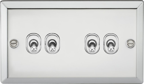 10A 4G 2 Way Toggle Switch - Bevelled Edge Polished Chrome Finish (DFL1CVTOG4PC)
