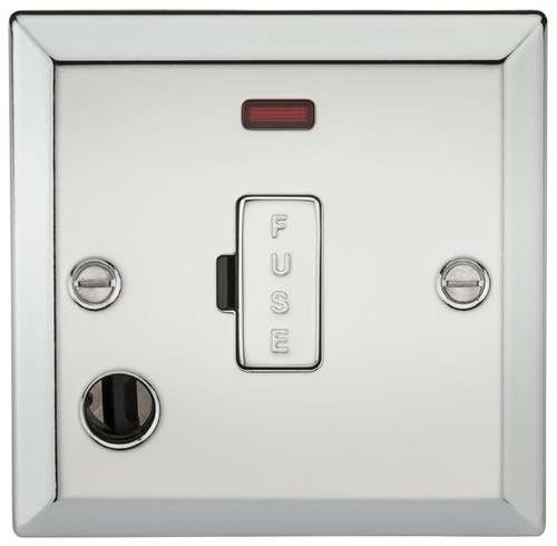 13A Fused Spur Unit with Neon and Flex Outlet - Bevelled Edge Polished Chrome (DFL1CV6FPC)
