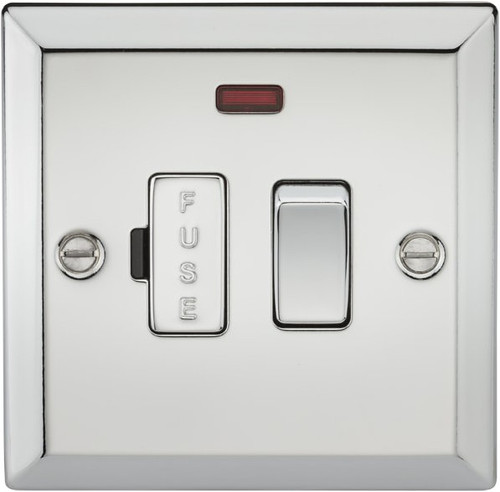 13A Switched Fused Spur Unit with Neon - Bevelled Edge Polished Chrome (DFL1CV63NPC)