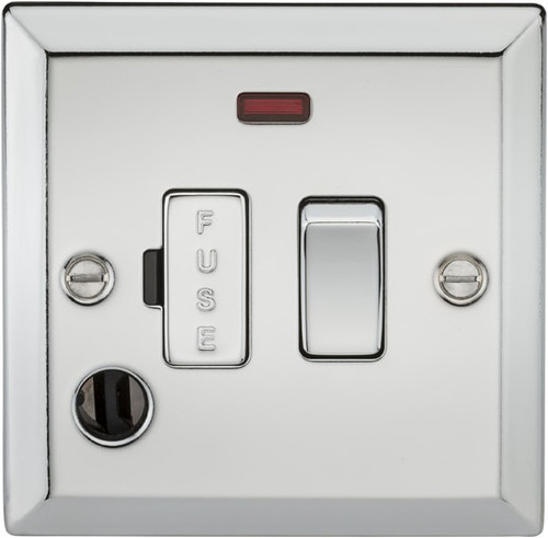 13A Switched Fused Spur Unit with Neon and Flex Outlet - Bevelled Edge Polished Chrome (DFL1CV63FPC)