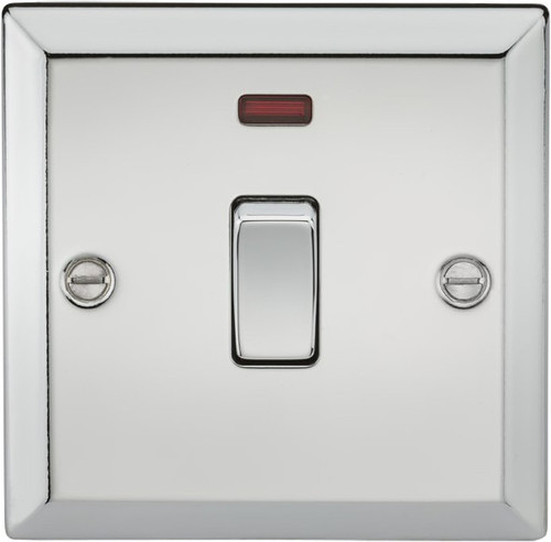 20A 1G DP Switch with Neon - Bevelled Edge Polished Chrome (DFL1CV834NPC)