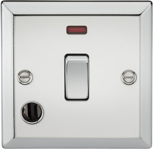 20A 1G DP Switch with Neon and Flex Outlet - Bevelled Edge Polished Chrome (DFL1CV834FPC)