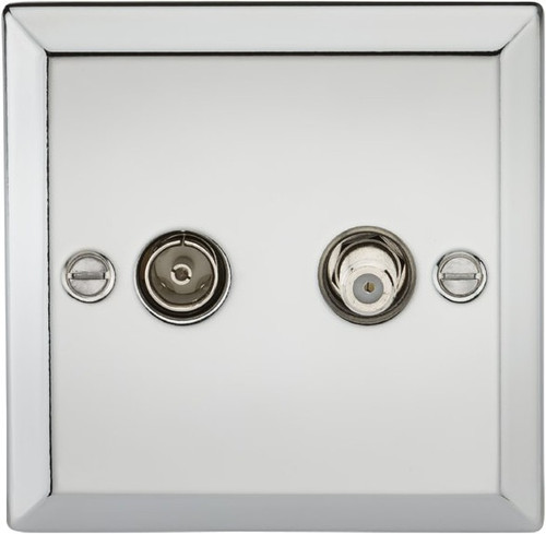 TV & SAT TV Outlet (Isolated) - Bevelled Edge Polished Chrome (DFL1CV014PC)