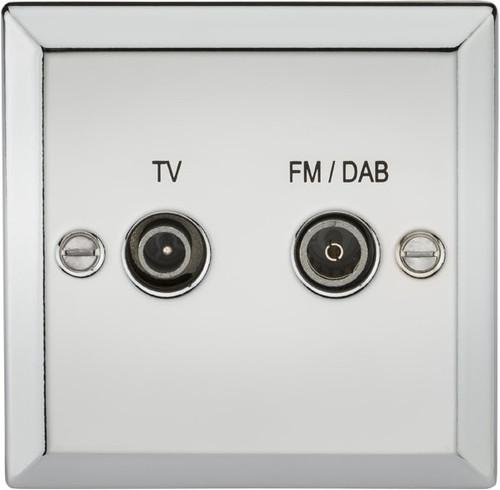 Diplex Outlet (TV & FM DAB) - Bevelled Edge Polished Chrome (DFL1CV016PC)