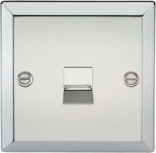 Telephone Extension Socket - Bevelled Edge Polished Chrome (DFL1CV74PC)