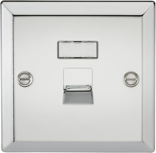 RJ45 Network Outlet - Bevelled Edge Polished Chrome (DFL1CV45PC)