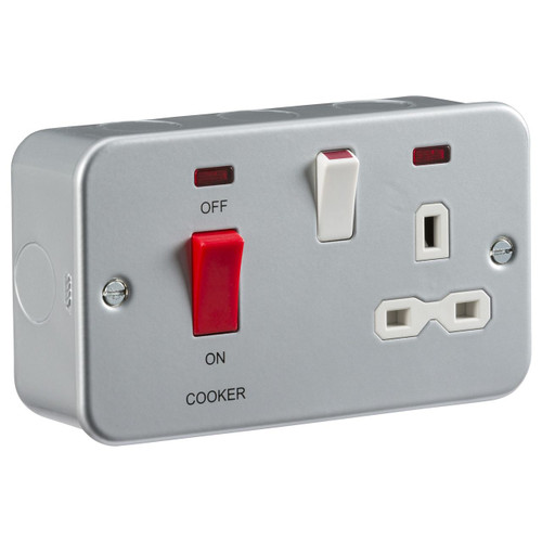 Metal Clad 2G 45A DP Cooker Switch and 13A Switched Socket with Neons (DFL1MR8333N)