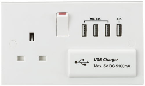 13A Switched Socket with Quad USB Charger 5V DC 5.1A (DFL1ST7USB4)