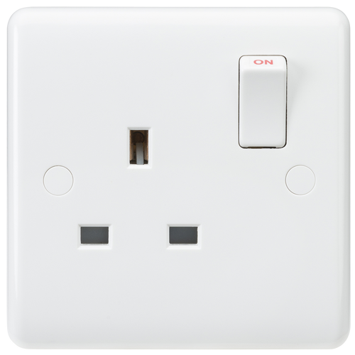 Curved edge 13A 1G SP switched socket (DFL1CU7000S)