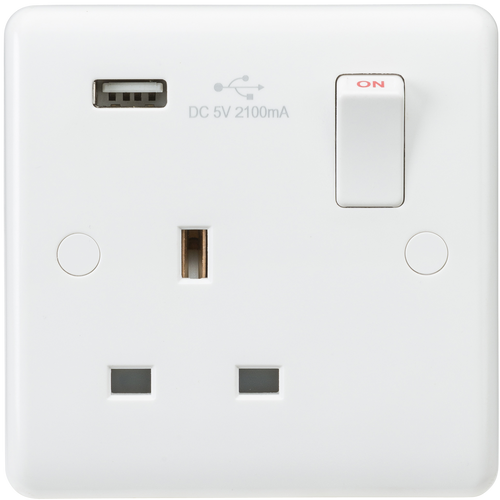 Curved edge 13A 1G switched socket with USB charger (5V DC 2.1A) (DFL1CU9903)