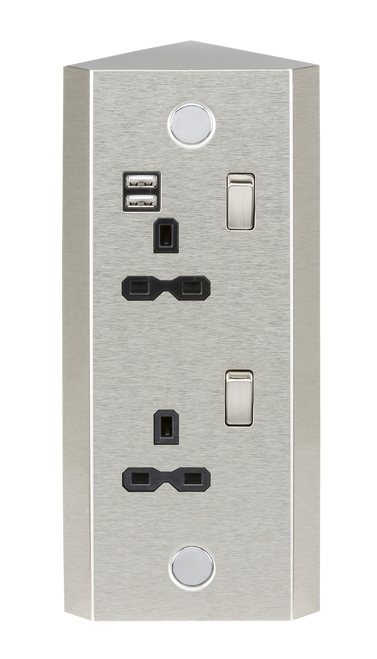 13A 2G Vertical Mount Switched Socket with Dual USB Charger 5V DC 2.4A (shared) (DFL1SKR001A)