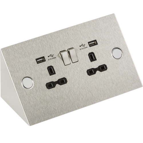 13A 2G Mounting Socket with Dual USB Charger 5V DC 2.4A (shared) (DFL1SKR002A)