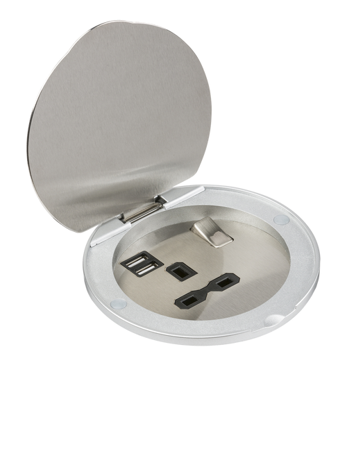 13A 1G Recessed Mounting Socket with Dual USB Charger 5V DC 2.4A (shared) (DFL1SKR003A)