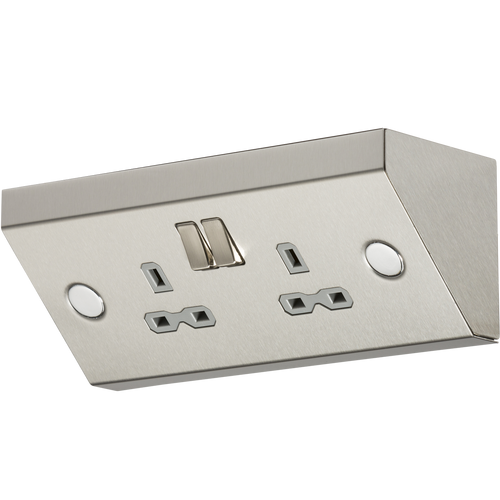 13A 2G DP Mounting Socket - Stainless Steel with Grey Insert (DFL1SKR008)