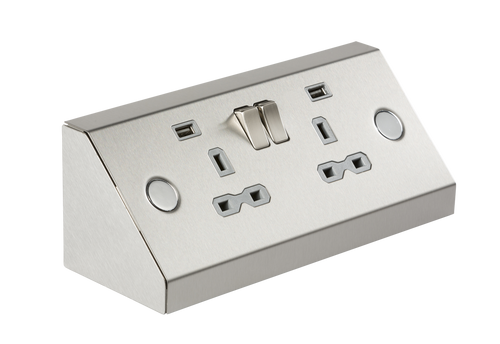 13A 2G Mounting Socket with Dual USB Charger 2.4A - Stainless Steel with Grey Insert (DFL1SKR009A)