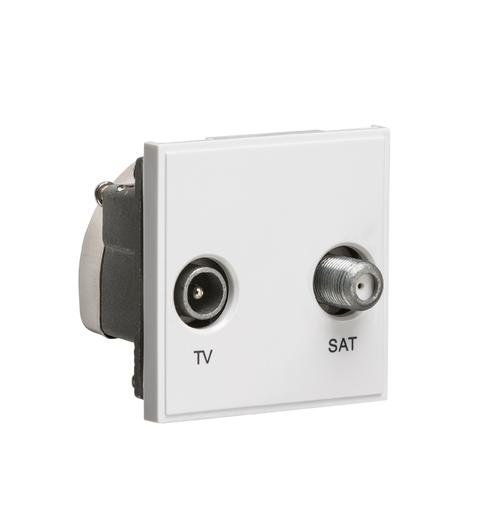 White Modular Diplexed TV /SAT TV Outlet (DFL1NETDISATWH)