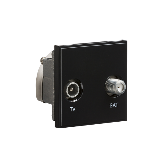 Black Modular Diplexed TV /SAT TV Outlet (DFL1NETDISATBK)