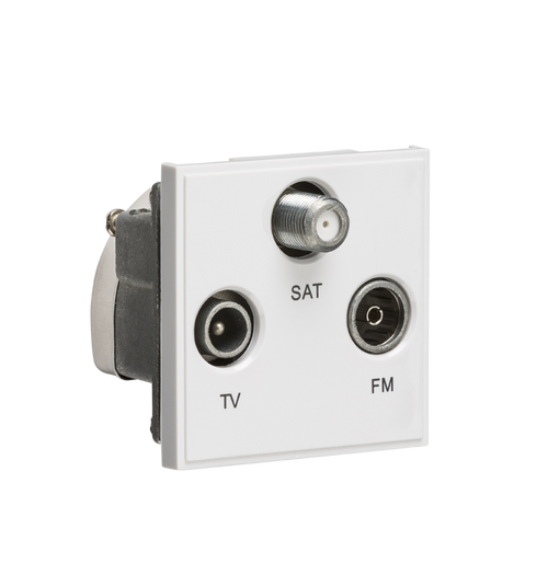 White Modular Triplexed TV /FM DAB/ SAT TV Outlet (DFL1NETTRIWH)