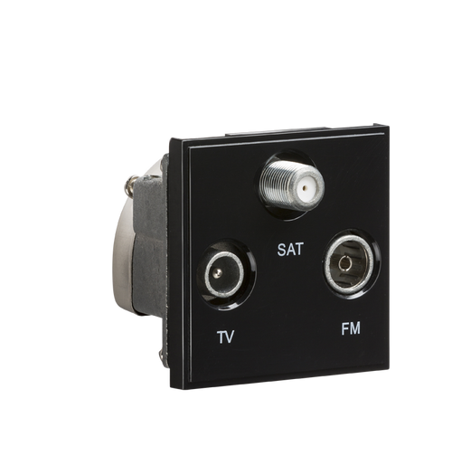 Black Modular Triplexed TV /FM DAB/ SAT TV Outlet (DFL1NETTRIBK)