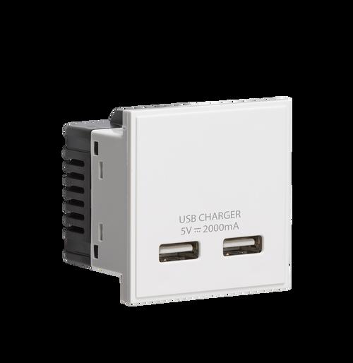 White Modular Dual USB Charger Module 5V DC 2A (DFL1NETUSBWH)