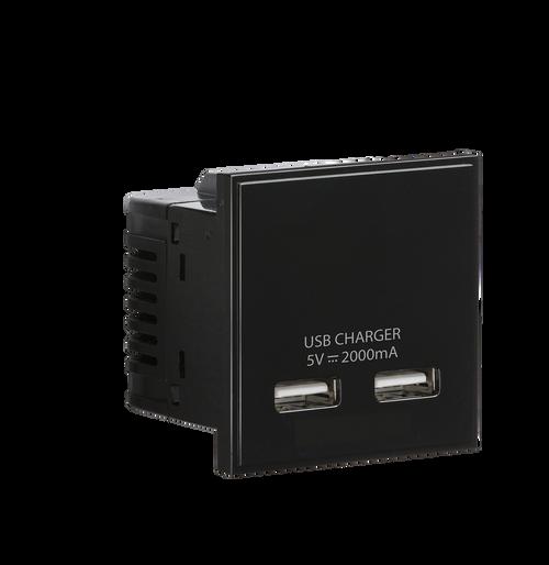 Black Modular Dual USB Charger Module 5V DC 2A (DFL1NETUSBBK)