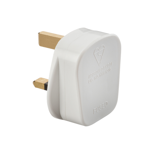 13A PLUG TOP WITH 3A FUSE - SCREW CORD GRIP - WHITE (DFL1SN1382)