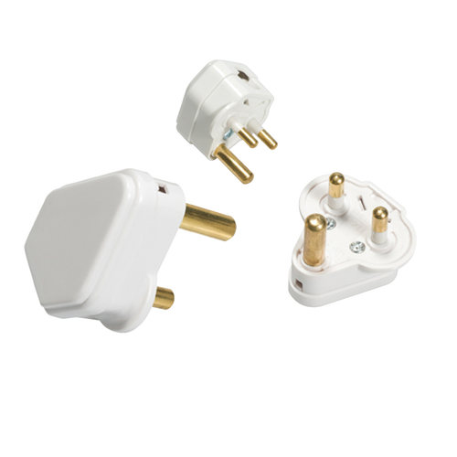 15A ROUND PIN PLUG TOP - WHITE (DFL11315A)
