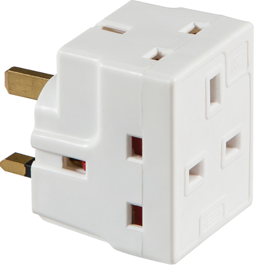 13A 3 WAY MAINS ADAPTOR (FUSED) (DFL11375)