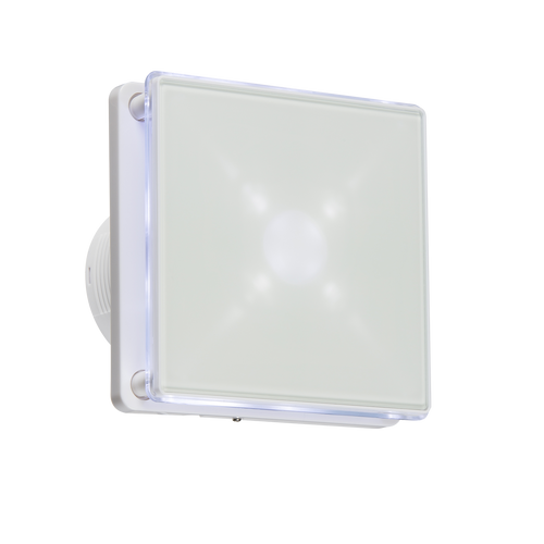 """100MM/4"""" LED Backlit Extractor Fan with Overrun Timer - White (DFL1EX003T)"""