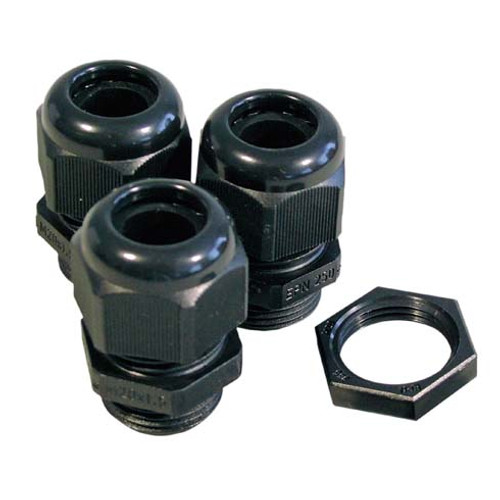 20mm Nylon Glands-Locknuts Kit 10 Pack, IP68 Black (DFL2NG20BKIT)